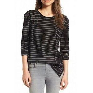 BP Black Striped Long Sleeve Side Slit Tee